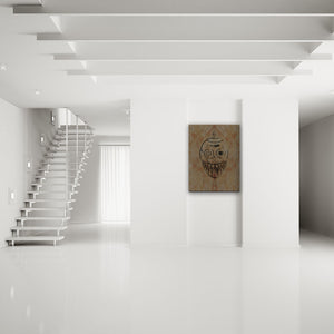 Blood-Stained Faces Of Death Robot Canvas Art shown on a wall in a modern white minimalist room