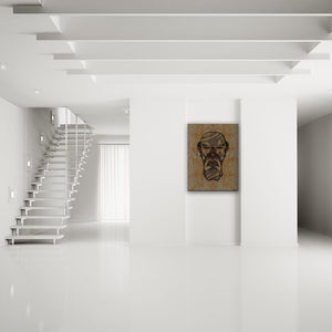 Blood-Stained Faces Of Death Serial Killer Canvas Art shown on a wall in a modern white minimalist room