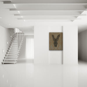Blood-Stained Faces Of Death Werewolf Canvas Art shown on a wall in a modern white minimalist room