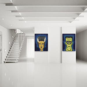 Classic Horror: Frankenstein And Bride Of Frankenstein Canvas Diptych shown on a wall in a modern white minimalist room