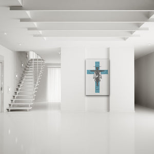 Clipped Wings Blue & White Rectangular Canvas Art shown on a wall in a white modern minimalist room