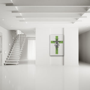 Clipped Wings Green & White Rectangular Canvas Art shown on a wall in a white modern minimalist room