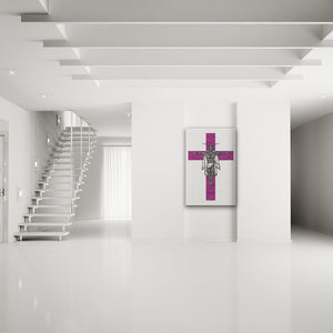 Clipped Wings Pink & White Rectangular Canvas Art shown on a wall in a white modern minimalist room