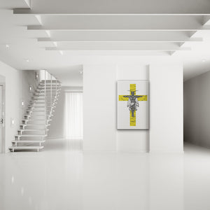 Clipped Wings Yellow & White Rectangular Canvas Art shown on a wall in a white modern minimalist room