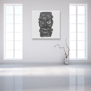 Faces Of Death: Frankenstein's Monster White Canvas Art shown on a wall in an empty white room