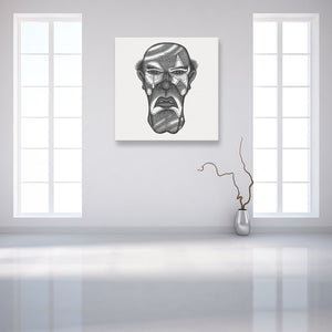 Faces Of Death: Serial Killer White Canvas Art shown on a wall in an empty white room