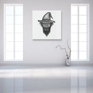 Faces Of Death: Wizard White Canvas Art shown on a wall in an empty white room