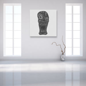 Faces Of Death: Zombie White Canvas Art shown on a wall in an empty white room