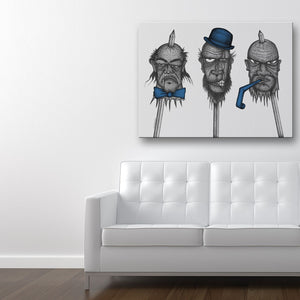 The Party's Over Blue Canvas Art shown on a wall in a modern white room with sofa