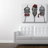 The Party's Over Red Canvas Art shown on a wall in a modern white room with sofa