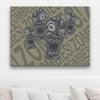 Zombie Outbreak Pale Brown Canvas Art shown on a wall in front of a sofa with light brown cushions