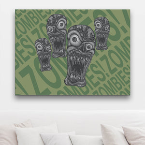 Zombie Outbreak Pale Green Canvas Art shown on a wall in front of a sofa with light brown cushions