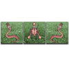 Canvas Wall Art triptych featuring cartoon images of surreal insects against a photographic background of a green grassy garden. Artwork by B.I./O.S