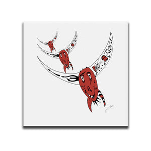 Canvas Wall Art featuring an image of a rodeo bull in a surreal style with the colours of the Canadian flag. Artwork by Louis l'Artiste