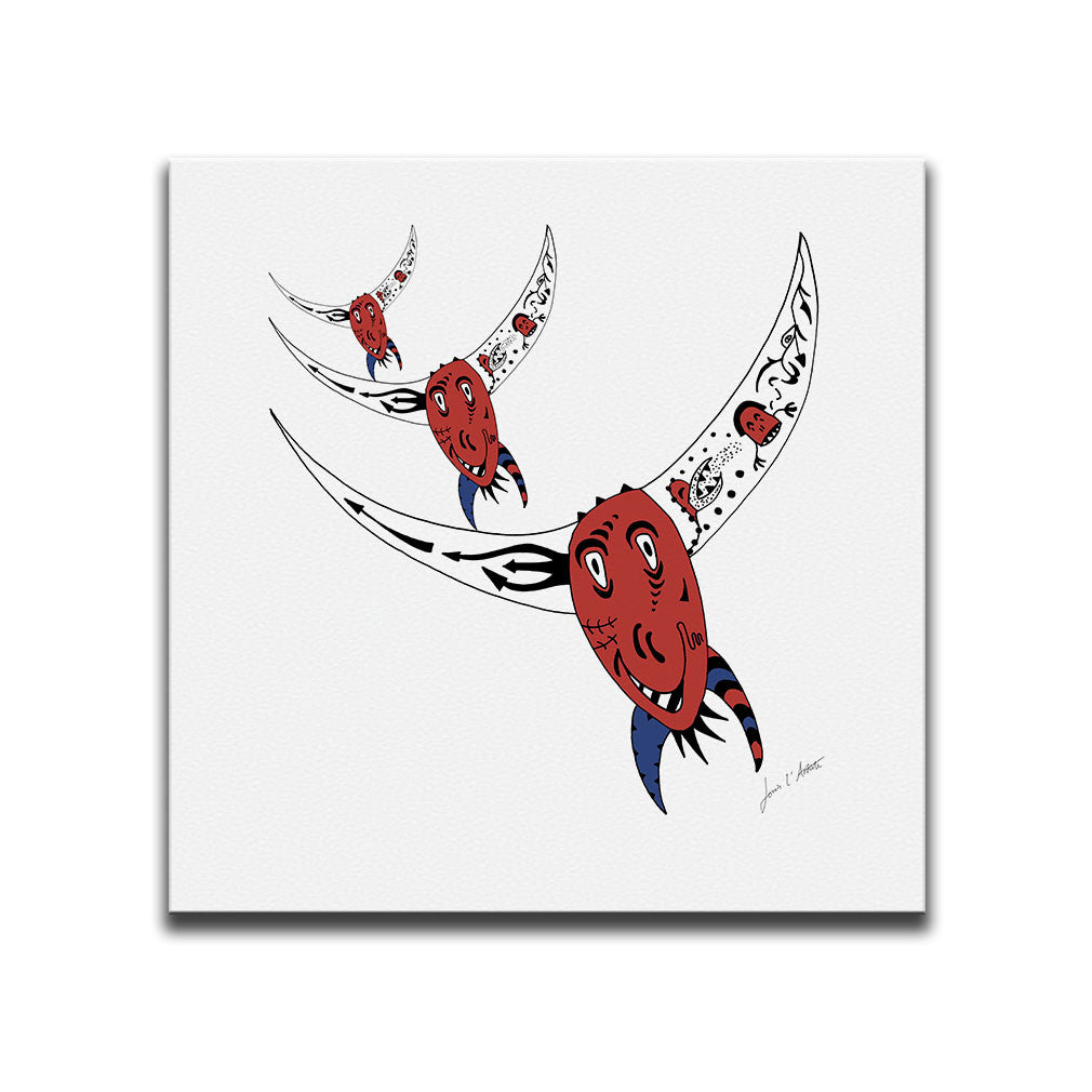 Canvas Wall Art featuring an image of a rodeo bull in a surreal style with the colours of the Chilean flag. Artwork by Louis l'Artiste