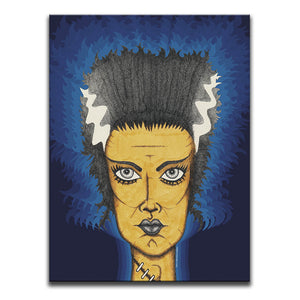 Canvas Wall Art featuring a cross-hatched, horror and dark art image of the Bride Of Frankenstein against a 1970's patterned blue background. Artwork by Broken Babies