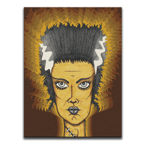 Canvas Wall Art featuring a cross-hatched, horror and dark art image of the Bride Of Frankenstein against a 1970's patterned brown and orange background. Artwork by Broken Babies