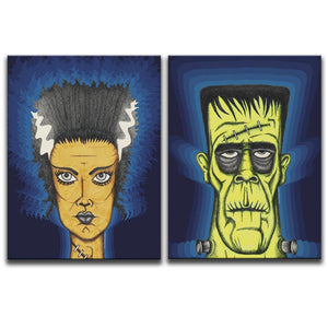 Canvas Art Diptych featuring two cross-hatched, horror and dark art images of Frankenstein's Monster and the Bride Of Frankenstein against 1970's patterned blue backgrounds. Artwork by Broken Babies