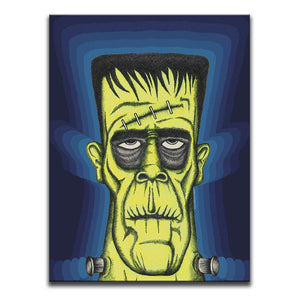 Canvas Wall Art featuring a cross-hatched, horror and dark art image of the Frankenstein against a 1970's patterned blue background. Artwork by Broken Babies