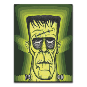 Canvas Wall Art featuring a cross-hatched, horror and dark art image of Frankenstein's Monster against a 1970's patterned green background. Artwork by Broken Babies