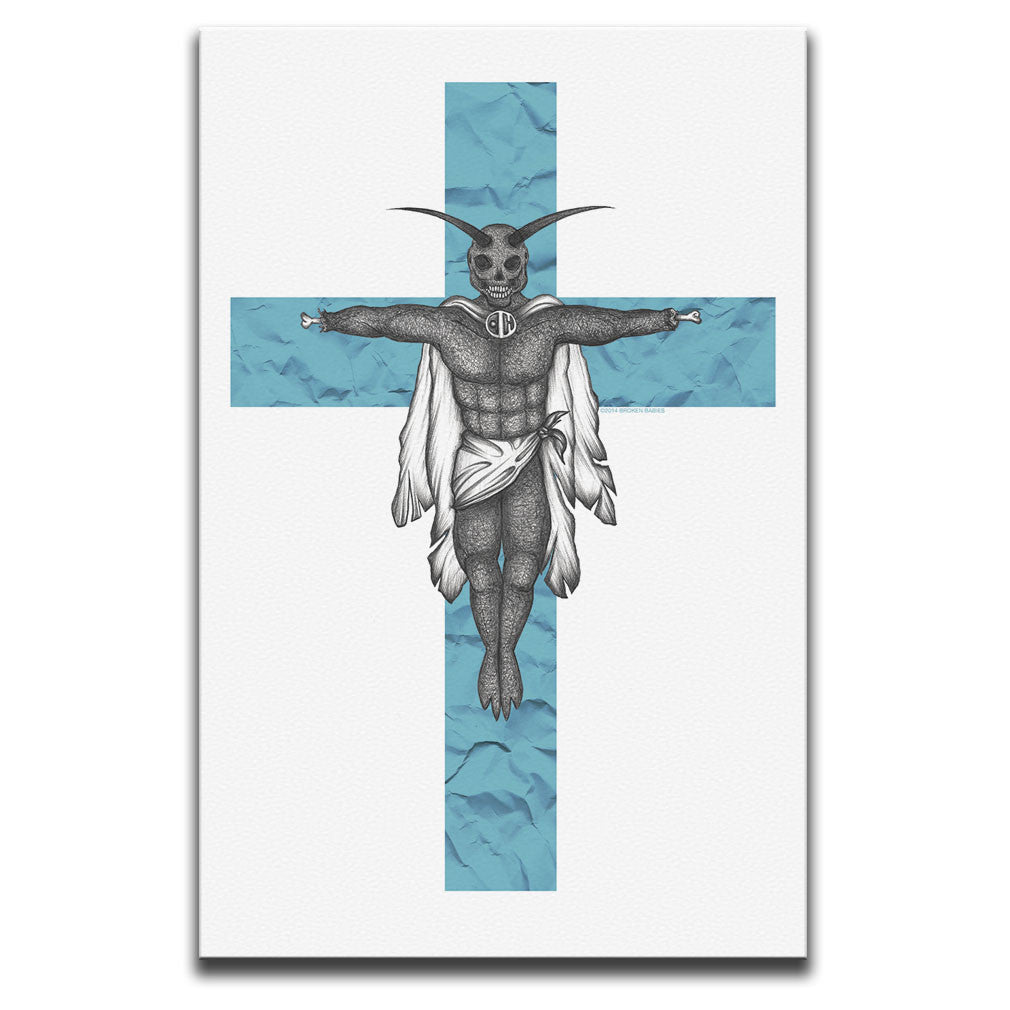 Canvas Wall Art featuring a horror and dark art image of a winged creature on a blue crucifix against a white background. Artwork by Broken Babies