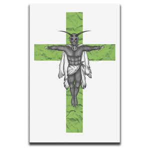 Canvas Wall Art featuring a horror and dark art image of a winged creature on a green crucifix against a white background. Artwork by Broken Babies