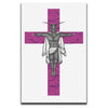 Canvas Wall Art featuring a horror and dark art image of a winged creature on a pink crucifix against a white background. Artwork by Broken Babies