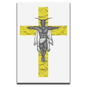 Canvas Wall Art featuring a horror and dark art image of a winged creature on a yellow crucifix against a white background. Artwork by Broken Babies