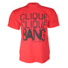 Shown On Model Red And Black Clique Clique Bang T-Shirt By Brilliant Input/Output System for antipopcult.com