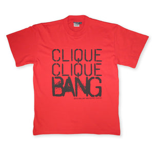 Red And Black Clique Clique Bang T-Shirt By Brilliant Input/Output System for antipopcult.com