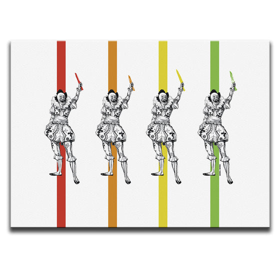 Canvas Wall Art featuring a repeating image of a clown waving graffiti stencilled knives set against four coloured stripes and a white background. Artwork by Indian Taker