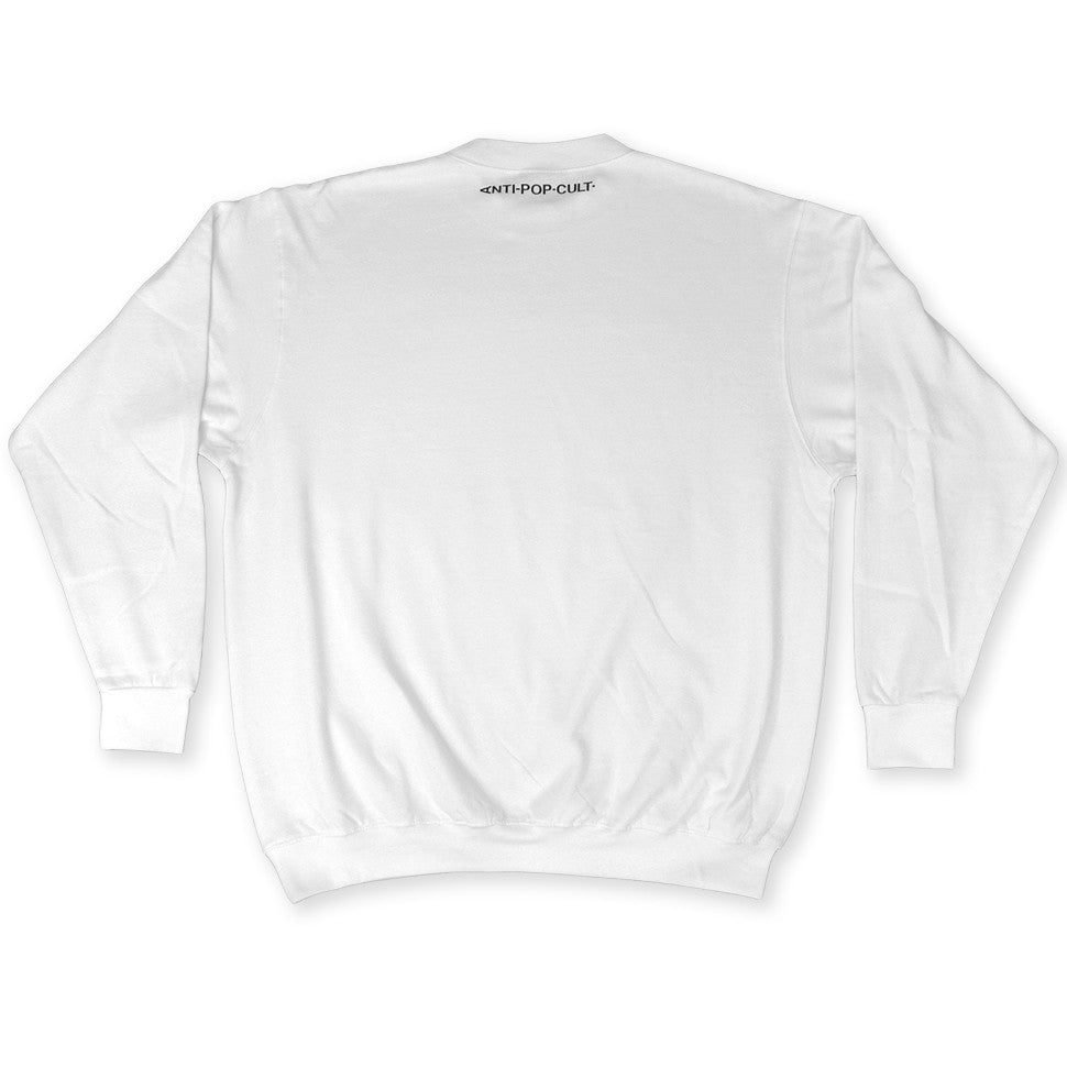 Back of White Crisis Actor Sweatshirt by Brilliant Input/Output System aka B.I./O.S. for for antipopcult.com
