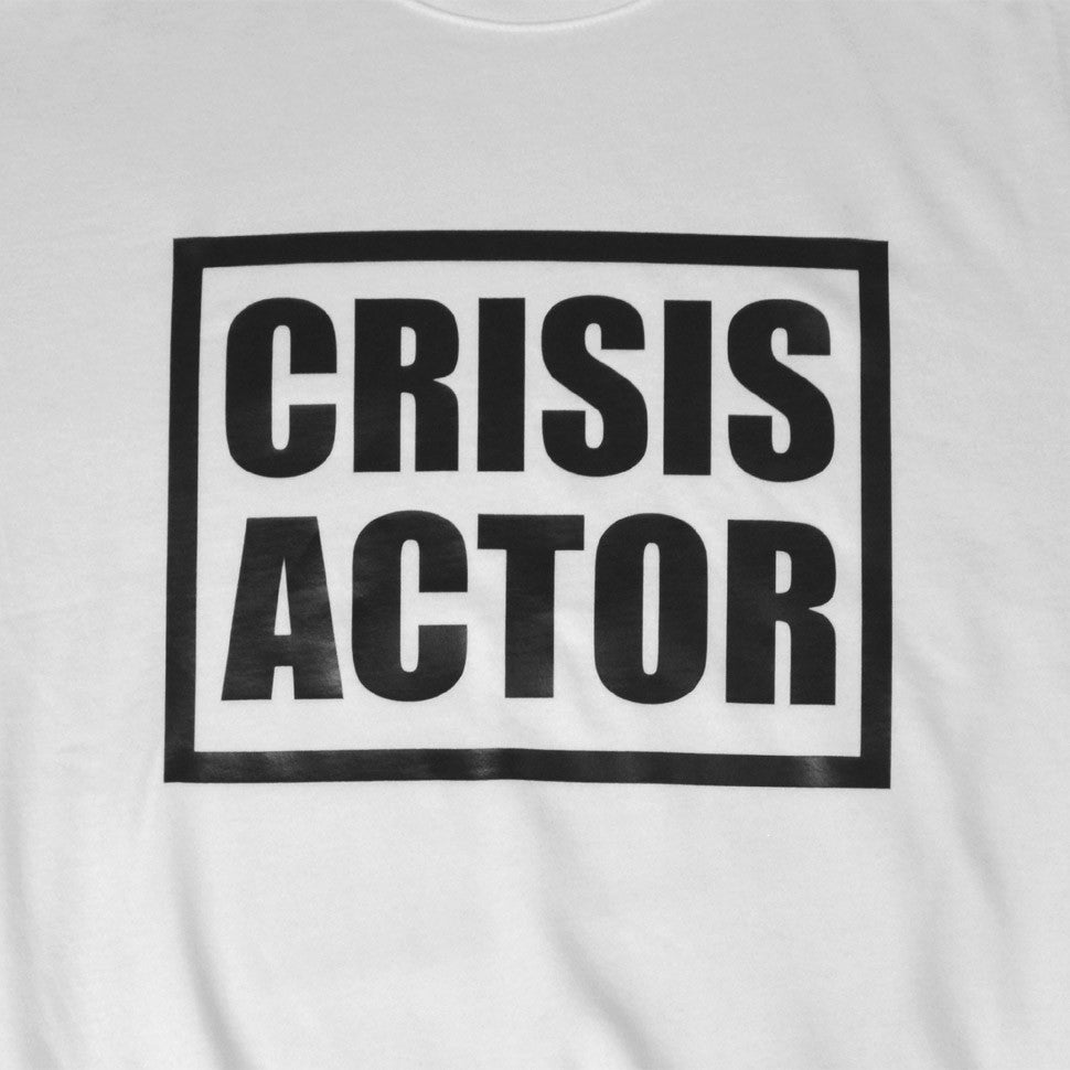Close-Up of White Crisis Actor Sweatshirt by Brilliant Input/Output System aka B.I./O.S. for for antipopcult.com
