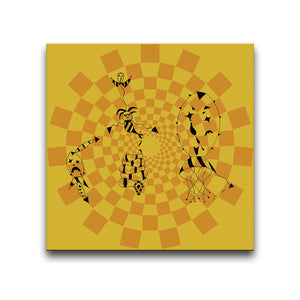 Canvas Wall Art titled Death At A Circus featuring a surreal image against a circular patterned orange background. Artwork by Louis l'Artiste