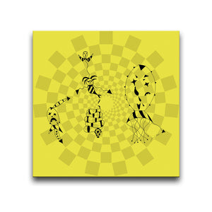 Canvas Wall Art titled Death At A Circus featuring a surreal image against a circular patterned yellow background. Artwork by Louis l'Artiste