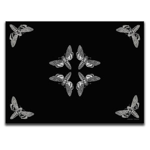 Canvas Wall Art featuring an engraved image of a Death Head Hawkmoth illustrated in a printmaking style against a black background. Artwork by Indian Taker