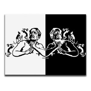Canvas Wall Art featuring a linocut image of devils causing pain to a man's body. The image is mirrored with a black side and a white side. Artwork by Indian Taker