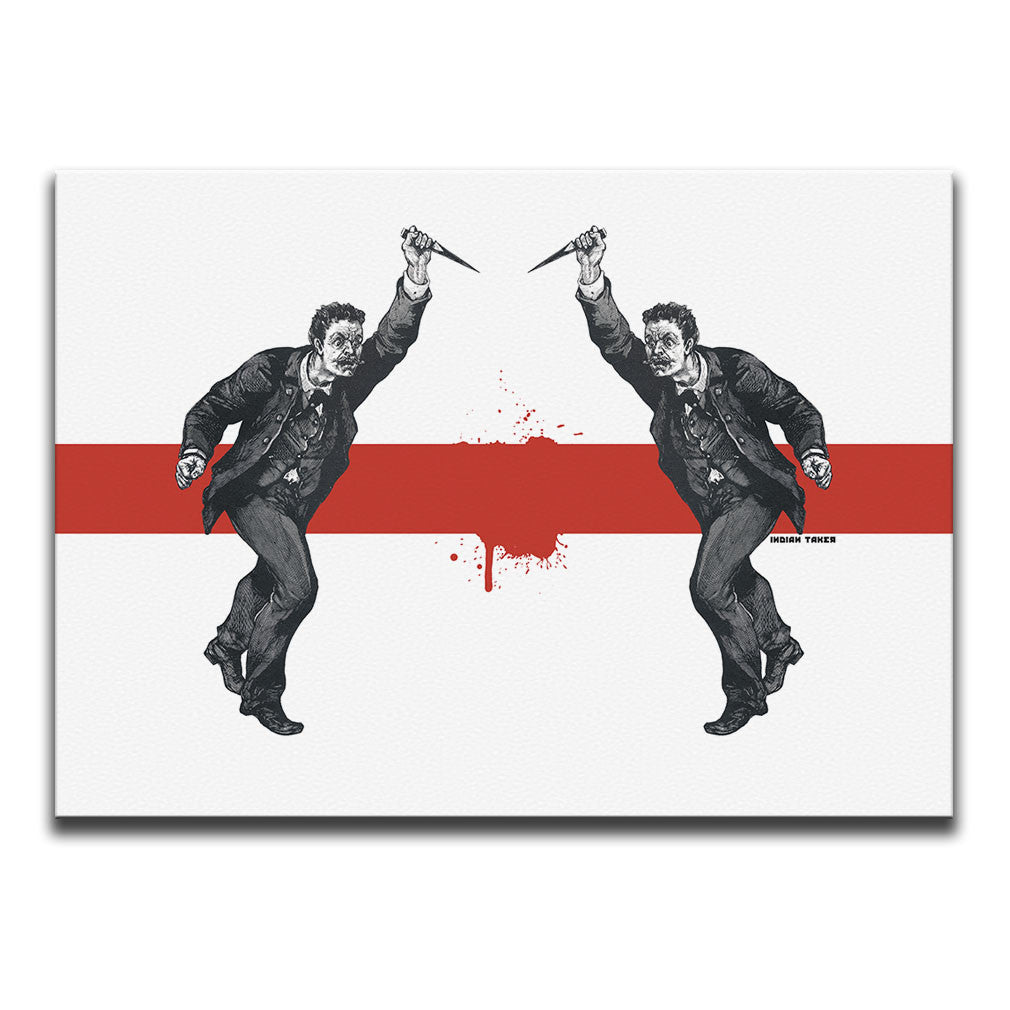 Minimalist Canvas Wall Art featuring an engraved image of men brandishing daggers illustrated in a printmaking style against a white background with a blood splattered stripe. Artwork by Indian Taker
