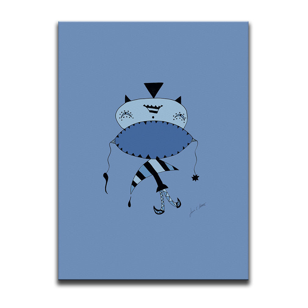 Canvas Wall Art titled Don't Shout featuring a surreal image of a sad figure drawn in a surrealist style using hues and tones of the colour blue. Artwork by Louis l'Artiste