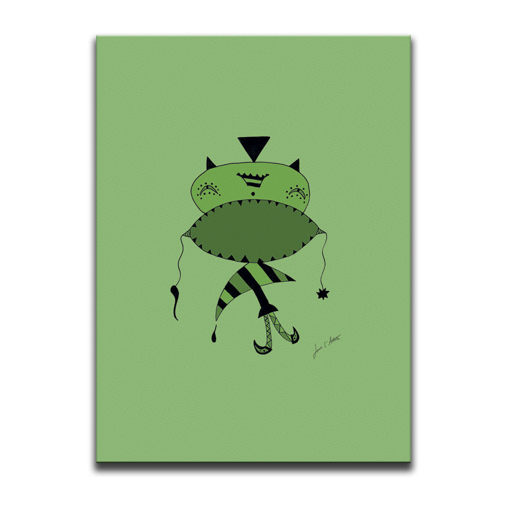 Canvas Wall Art titled Don't Shout featuring a surreal image of a sad figure drawn in a surrealist style using hues and tones of the colour green. Artwork by Louis l'Artiste