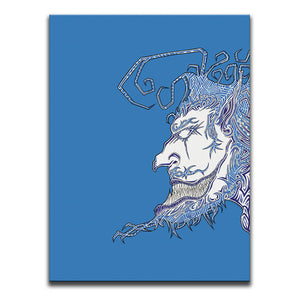 Blue surreal graffiti face against blue background. Canvas part of Face Off Canvas Art Diptych. Artwork by B.I./O.S.