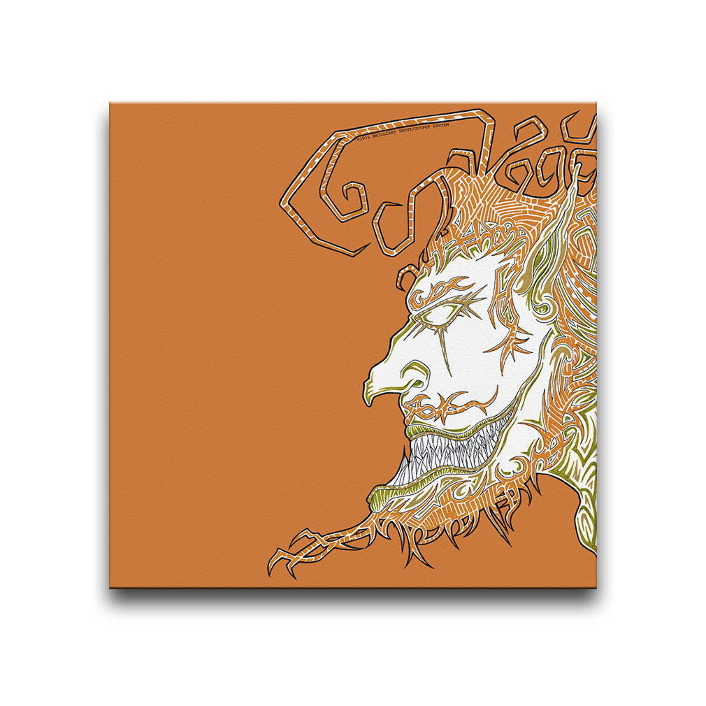 Canvas Wall Art featuring a surreal and cartoonish image of a face with an exaggerated beard and quiff against an orange background. Artwork by B.I./O.S.