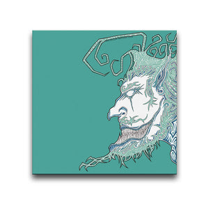 Canvas Wall Art featuring a surreal and cartoonish image of a face with an exaggerated beard and quiff against a turquoise background. Artwork by B.I./O.S.
