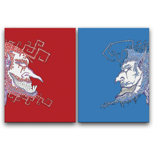 Canvas Wall Art Diptych featuring two strange graffiti faces against a blue and red background facing towards from each other. Artwork by B.I./O.S.