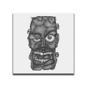 Minimalist Canvas Wall Art featuring a cross-hatched, horror and dark art image of Frankenstein's Monster against a white background. Artwork by Broken Babies
