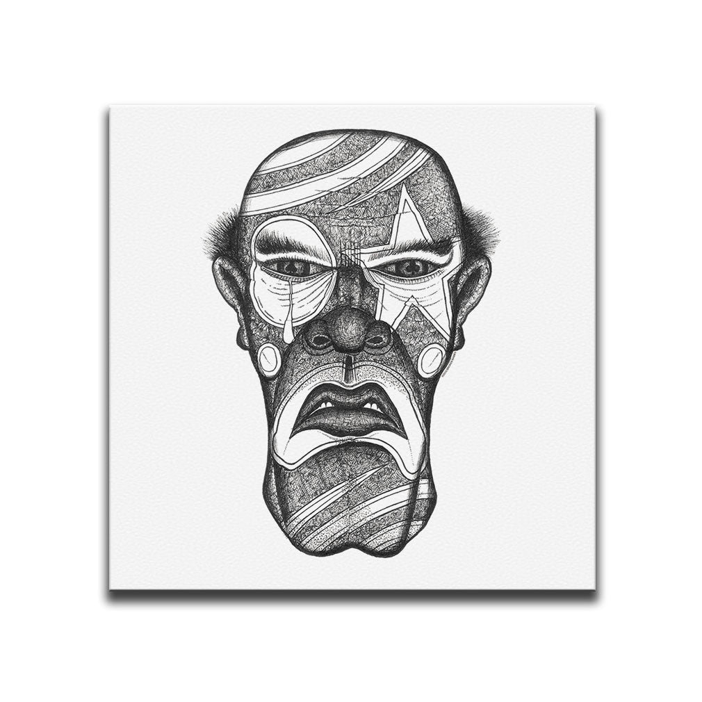 Minimalist Canvas Wall Art featuring a cross-hatched, horror and dark art image of a serial killer against a white background. Artwork by Broken Babies