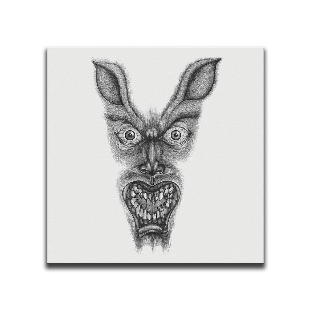 Minimalist Canvas Wall Art featuring a cross-hatched, horror and dark art image of a werewolf against a white background. Artwork by Broken Babies