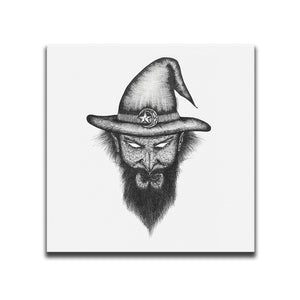 Minimalist Canvas Wall Art featuring a cross-hatched, horror and dark art image of a wizard against a white background. Artwork by Broken Babies