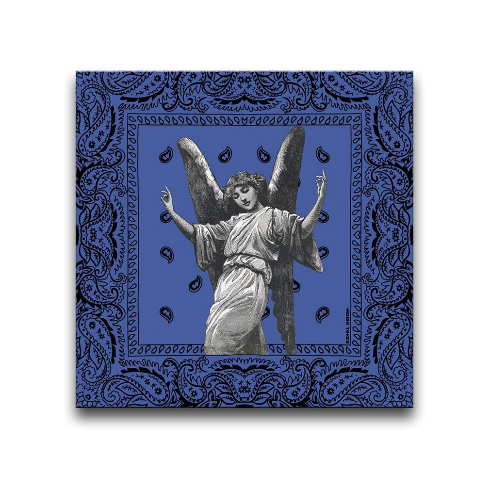 Canvas Wall Art featuring an image of a winged angel making gang signs in a printmaking style set against a blue bandana background. Artwork by Indian Taker