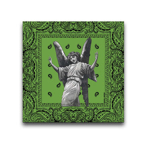 Canvas Wall Art featuring an image of a winged angel making gang signs in a printmaking style set against a green bandana background. Artwork by Indian Taker
